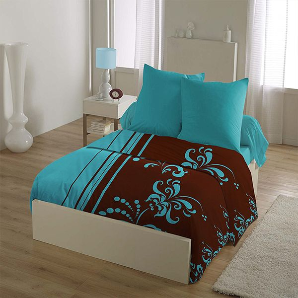 parure de lit 4 pi ces microfibre 220x290 cm aby turquoise pas cher. Black Bedroom Furniture Sets. Home Design Ideas