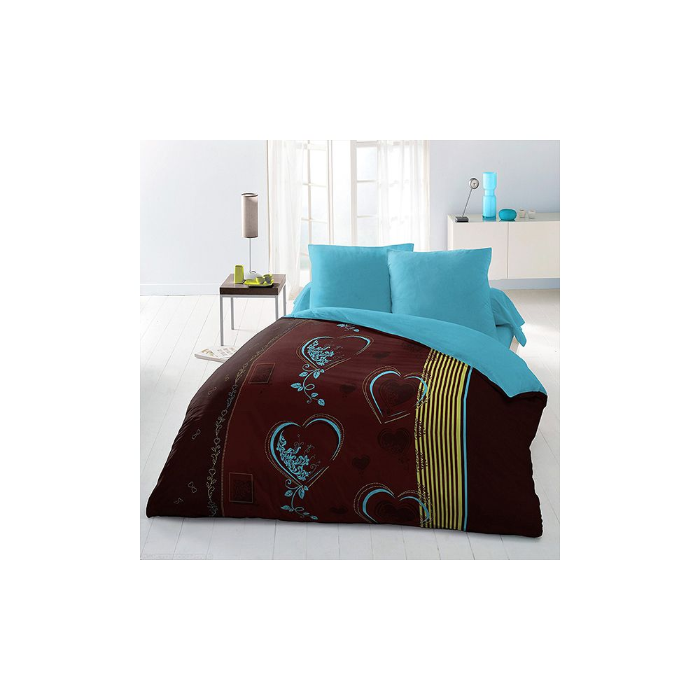parure de lit housse de couette 220x240 microfibre coeur. Black Bedroom Furniture Sets. Home Design Ideas