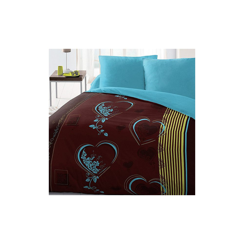 parure de lit housse de couette 220x240 microfibre coeur pas cher. Black Bedroom Furniture Sets. Home Design Ideas