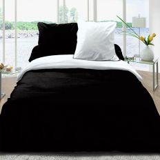 Parure housse de couette réversible coton 220x240 cm noir blanc