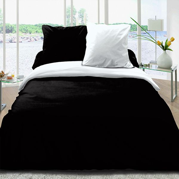 achat housse de couette r versible coton 220x240 noir. Black Bedroom Furniture Sets. Home Design Ideas