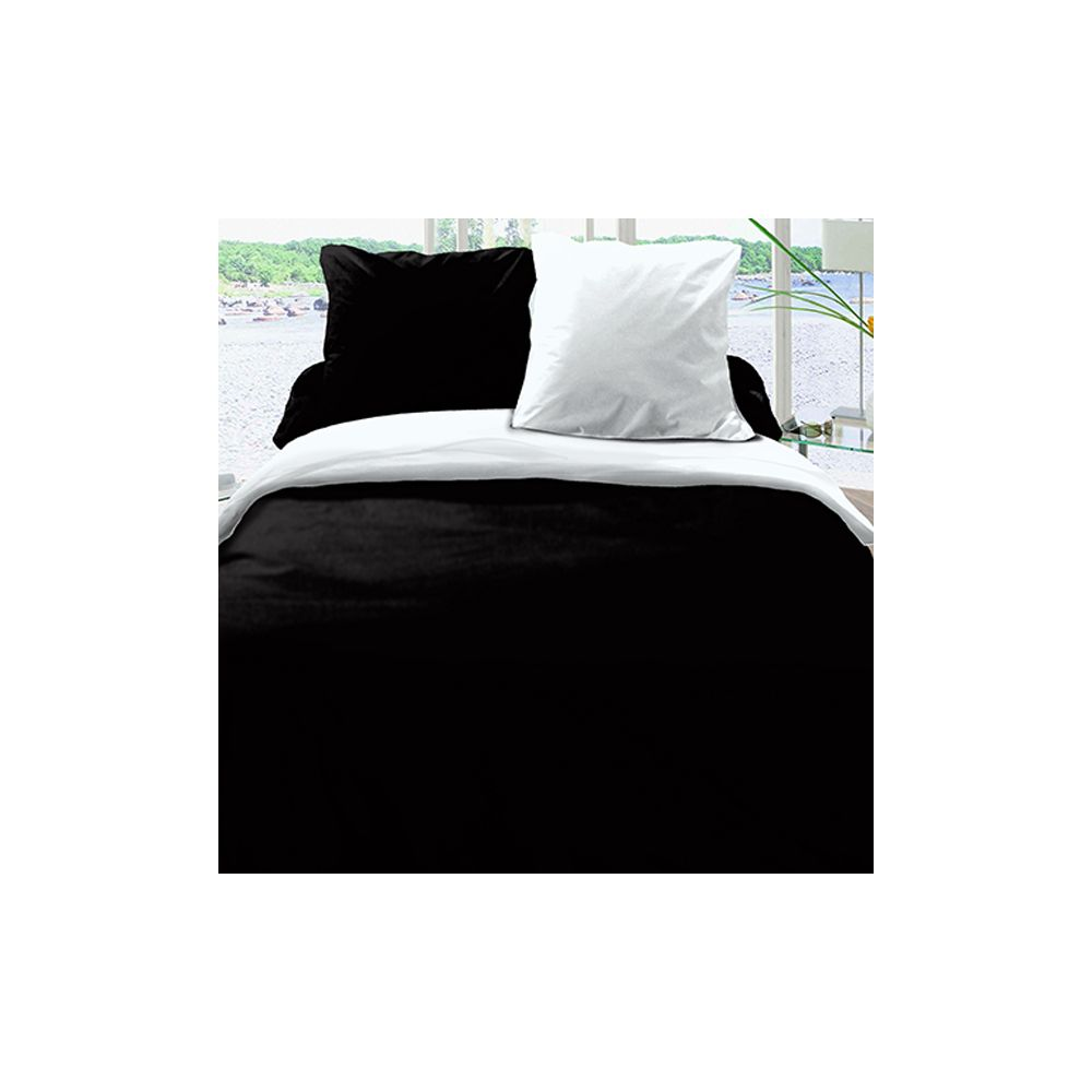 achat housse de couette r versible coton 220x240 noir blanc pas cher. Black Bedroom Furniture Sets. Home Design Ideas