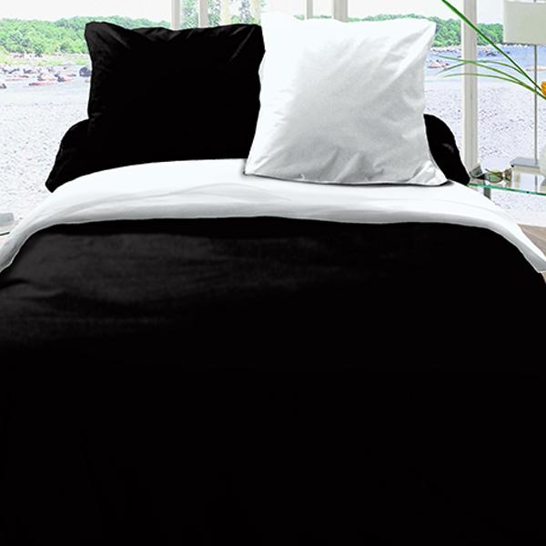 Achat Housse De Couette Reversible Coton 220x240 Noir Blanc Pas Cher