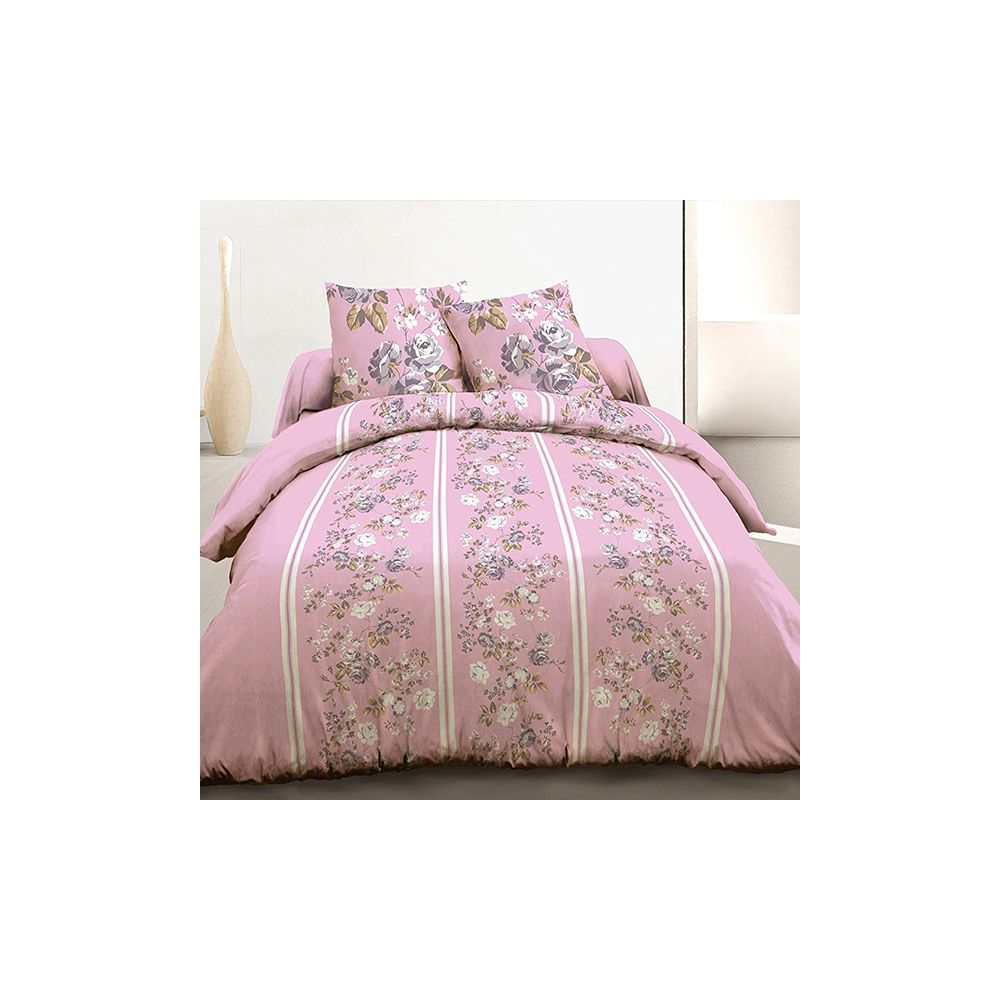 achat parure housse de couette 220x240 cm 100 coton roses pas cher. Black Bedroom Furniture Sets. Home Design Ideas