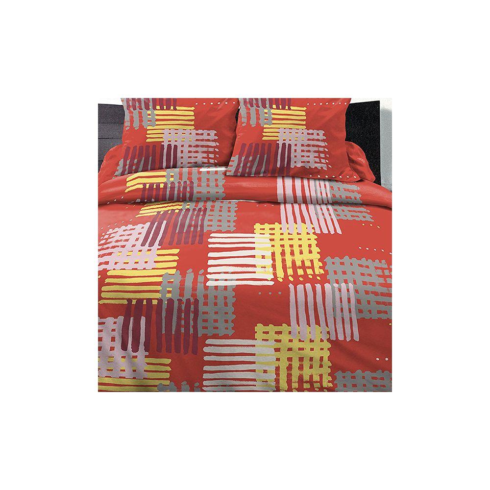parure de lit housse de couette polycoton 220x240 cm. Black Bedroom Furniture Sets. Home Design Ideas