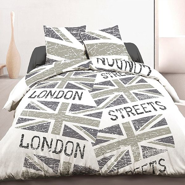 achat housse de couette coton 220x240 cm london flag r tro pas cher. Black Bedroom Furniture Sets. Home Design Ideas