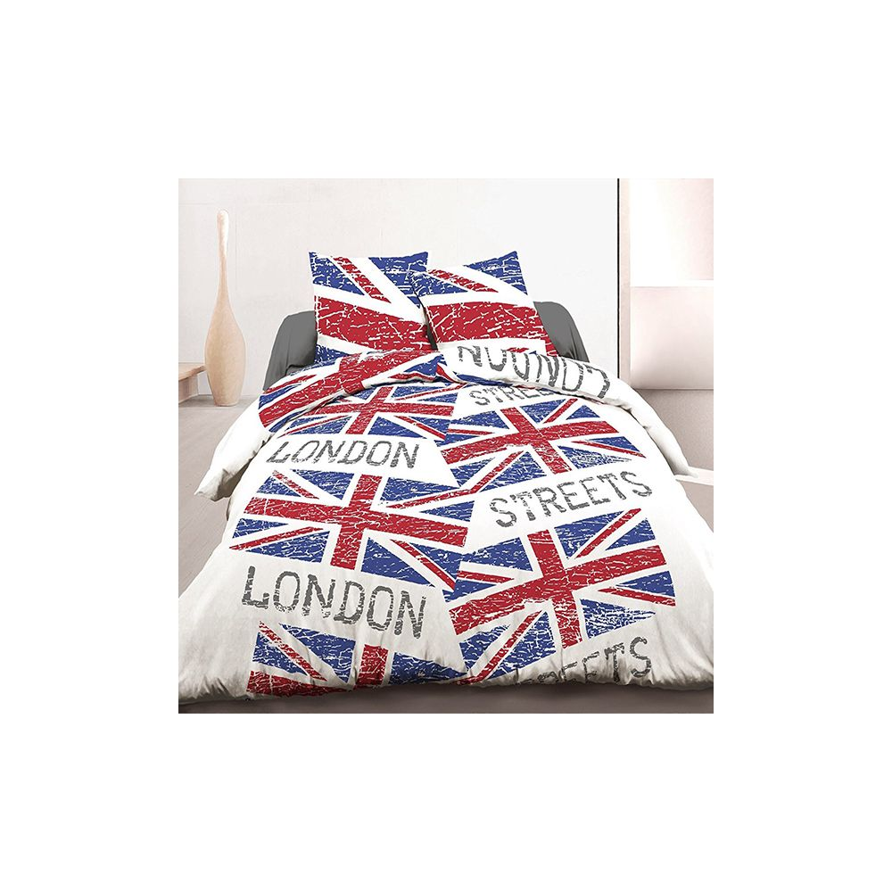 parure housse de couette 220x240 cm 100 coton london flag pas cher. Black Bedroom Furniture Sets. Home Design Ideas