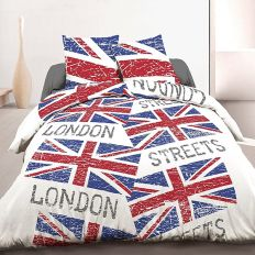 Parure housse de couette 240x260 cm 100% coton London Flag