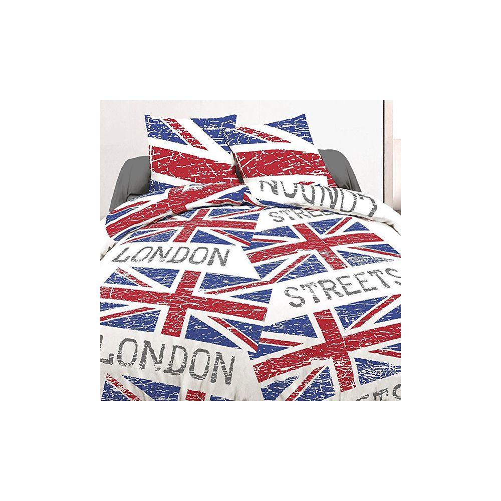 achat parure housse de couette 240x260 cm 100 coton london flag pas cher. Black Bedroom Furniture Sets. Home Design Ideas