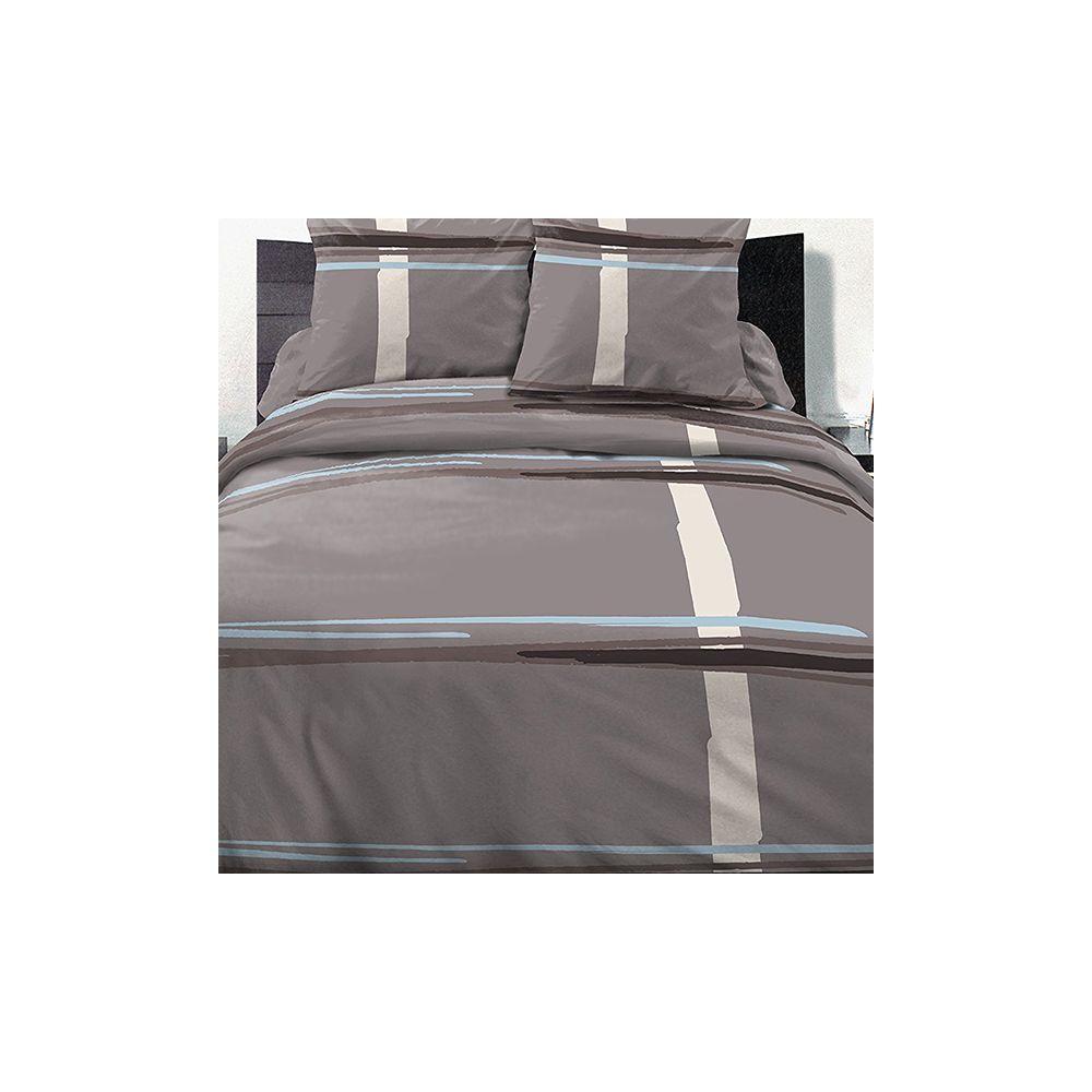 parure housse de couette 100 coton 220x240 cm trio pas cher. Black Bedroom Furniture Sets. Home Design Ideas