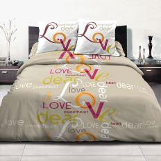 Parure de lit 100% coton 220x240 cm Love