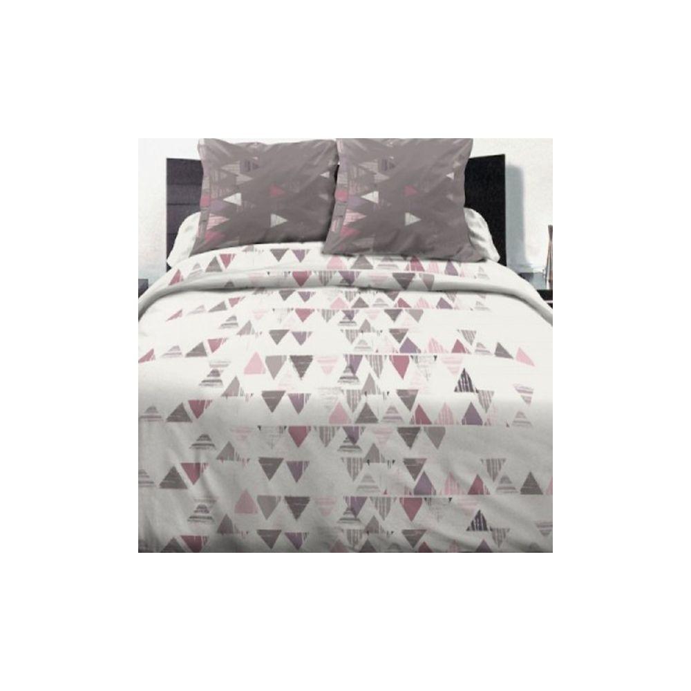 parure de lit 100 coton 240x260 cm terre de feu blanc pas cher. Black Bedroom Furniture Sets. Home Design Ideas