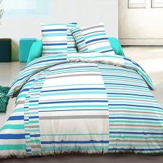 Parure de lit 100% coton 240x260 cm Vision Bleu