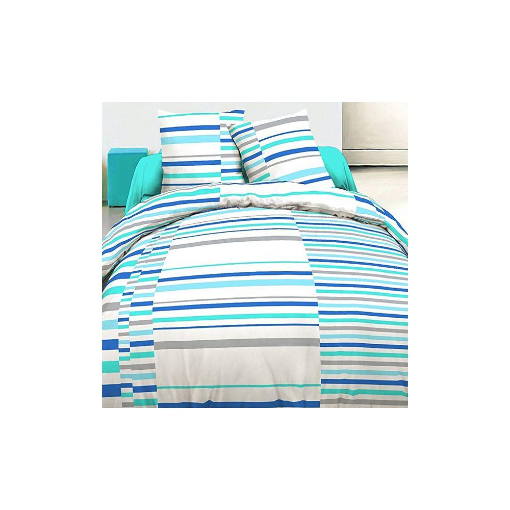 achat parure de lit 100 coton 240x260 cm vision bleu pas cher. Black Bedroom Furniture Sets. Home Design Ideas
