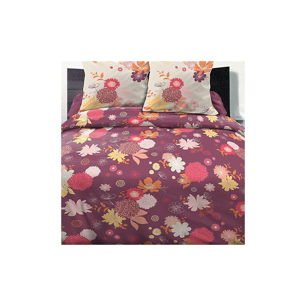 parure housse de couette 100 coton 240x260 cm fleurs d 39 t pas cher. Black Bedroom Furniture Sets. Home Design Ideas