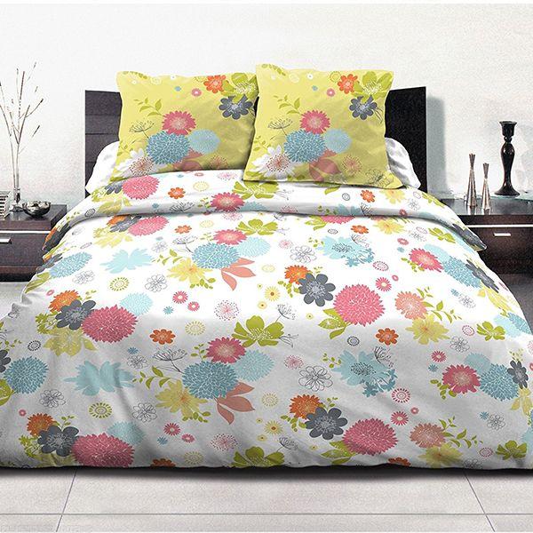 achat housse de couette 220x240 100 coton fleurs d 39 t vert pas cher. Black Bedroom Furniture Sets. Home Design Ideas