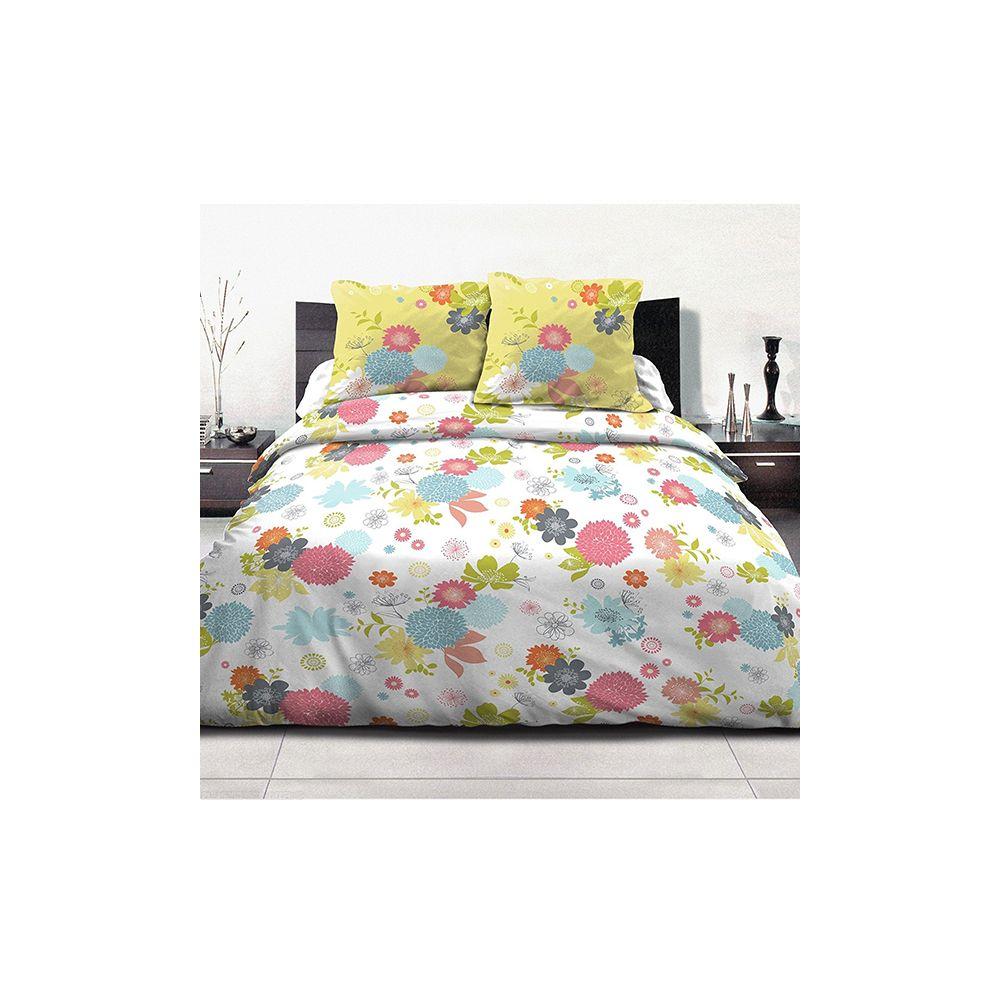parure housse de couette 100 coton 240x260 fleurs d 39 t vert pas cher. Black Bedroom Furniture Sets. Home Design Ideas