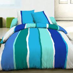 Parure housse de couette 220x240 cm 100% coton Lilly bleu