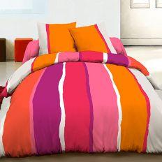 Parure housse de couette 220x240 cm 100% coton Lilly orange