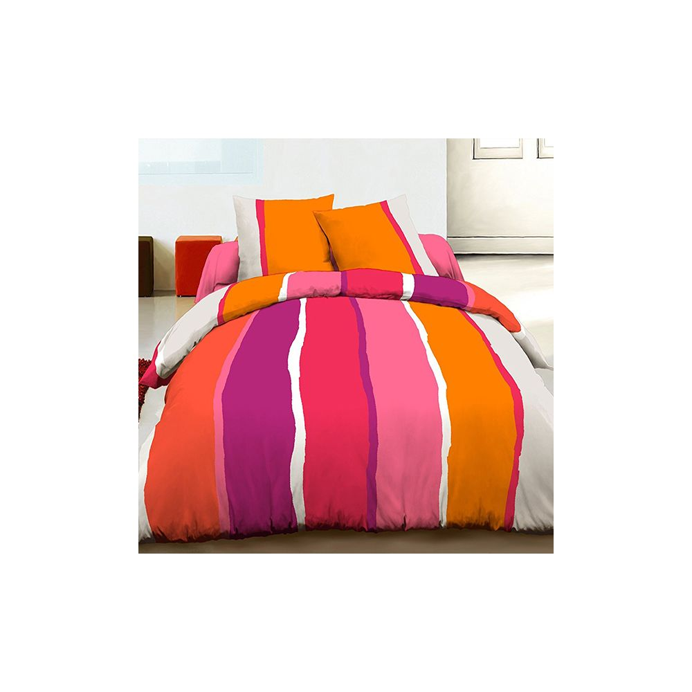 achat housse de couette 100 coton 240x260 cm lilly orange pas cher. Black Bedroom Furniture Sets. Home Design Ideas