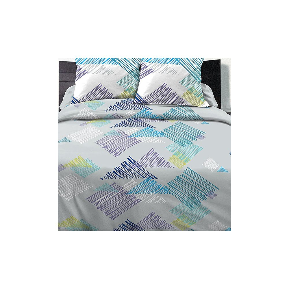 parure housse de couette 220x240 100 coton desilia blue pas cher. Black Bedroom Furniture Sets. Home Design Ideas