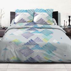 Parure de lit 2 personnes 100% coton 240x260 cm Desilia blue