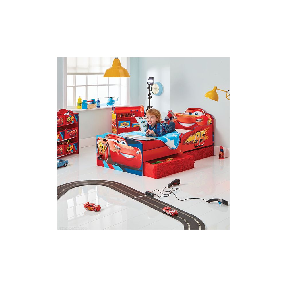 lit enfant achat lit flash mcqueen avec rangements pas cher disney. Black Bedroom Furniture Sets. Home Design Ideas