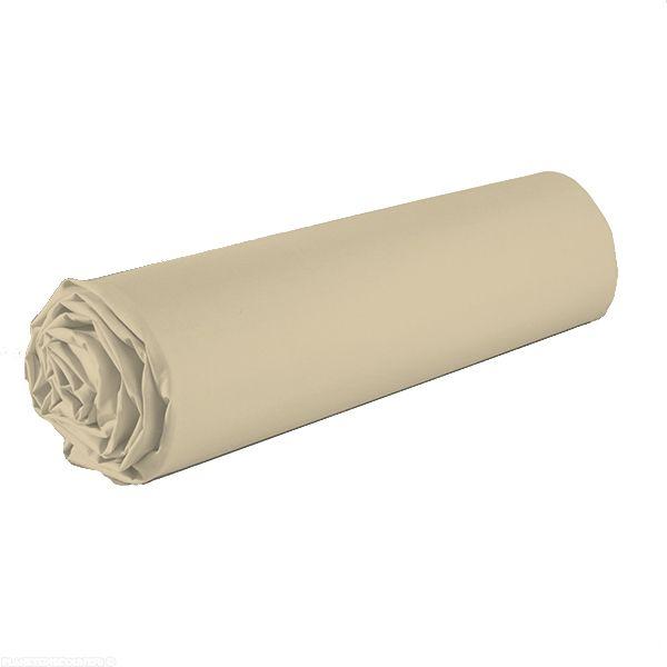 Drap housse 100% coton 90x190 cm Marron clair