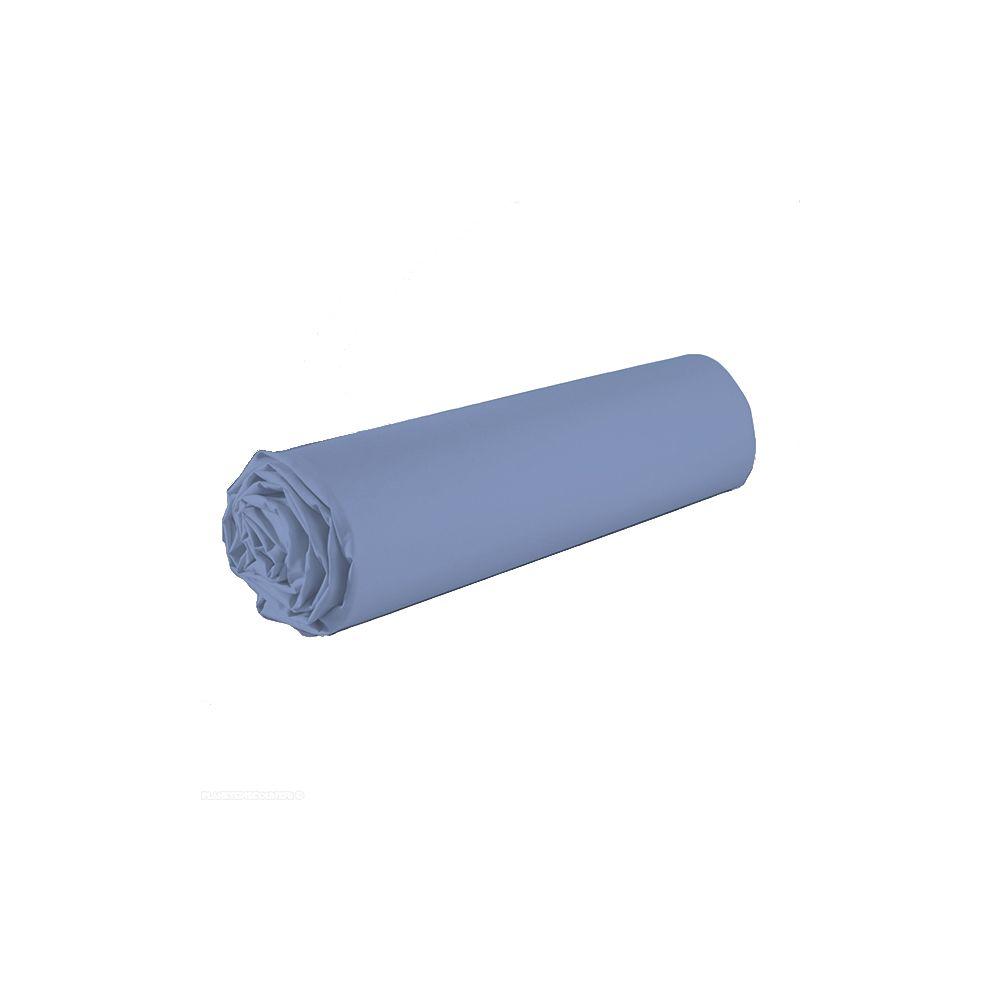 drap housse achat drap housse 100 coton 140x190 bleu clair pas cher. Black Bedroom Furniture Sets. Home Design Ideas