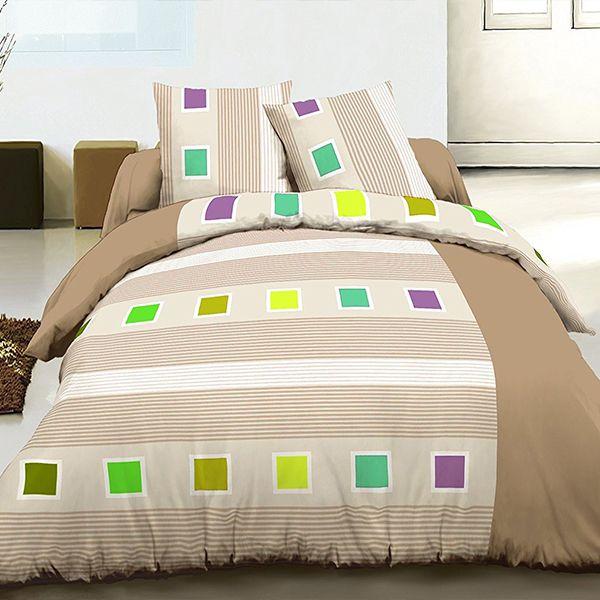 Achat parure de lit 220x240 cm 100 coton cuby beige pas cher for Parure de couette beige