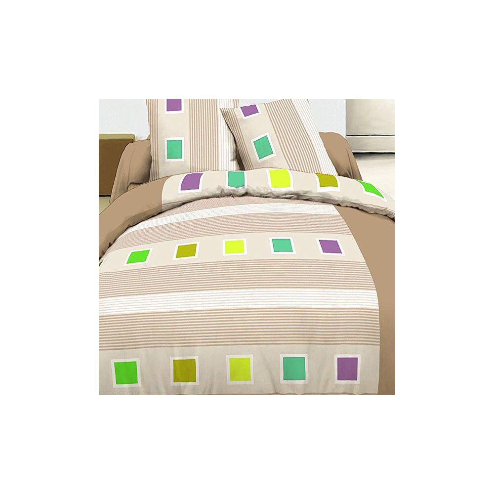 achat parure housse de couette coton 240x260 cm cuby beige pas cher. Black Bedroom Furniture Sets. Home Design Ideas