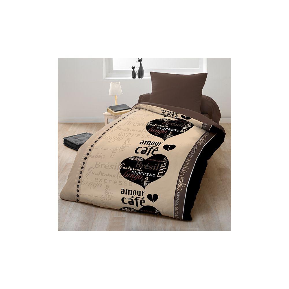 parure de couette microfibre 140x200 cm caf du monde pas cher. Black Bedroom Furniture Sets. Home Design Ideas