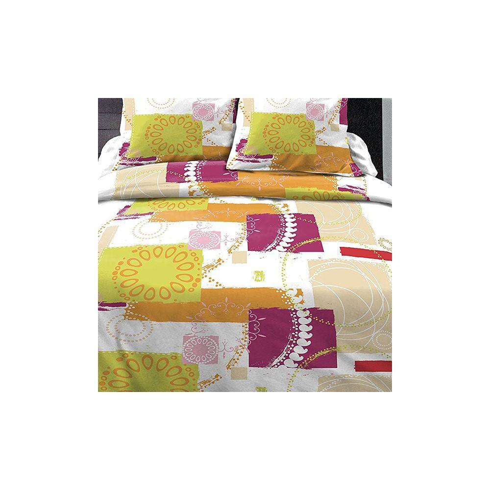 achat parure de couette 100 coton 240x260 cm g o multi pas cher. Black Bedroom Furniture Sets. Home Design Ideas