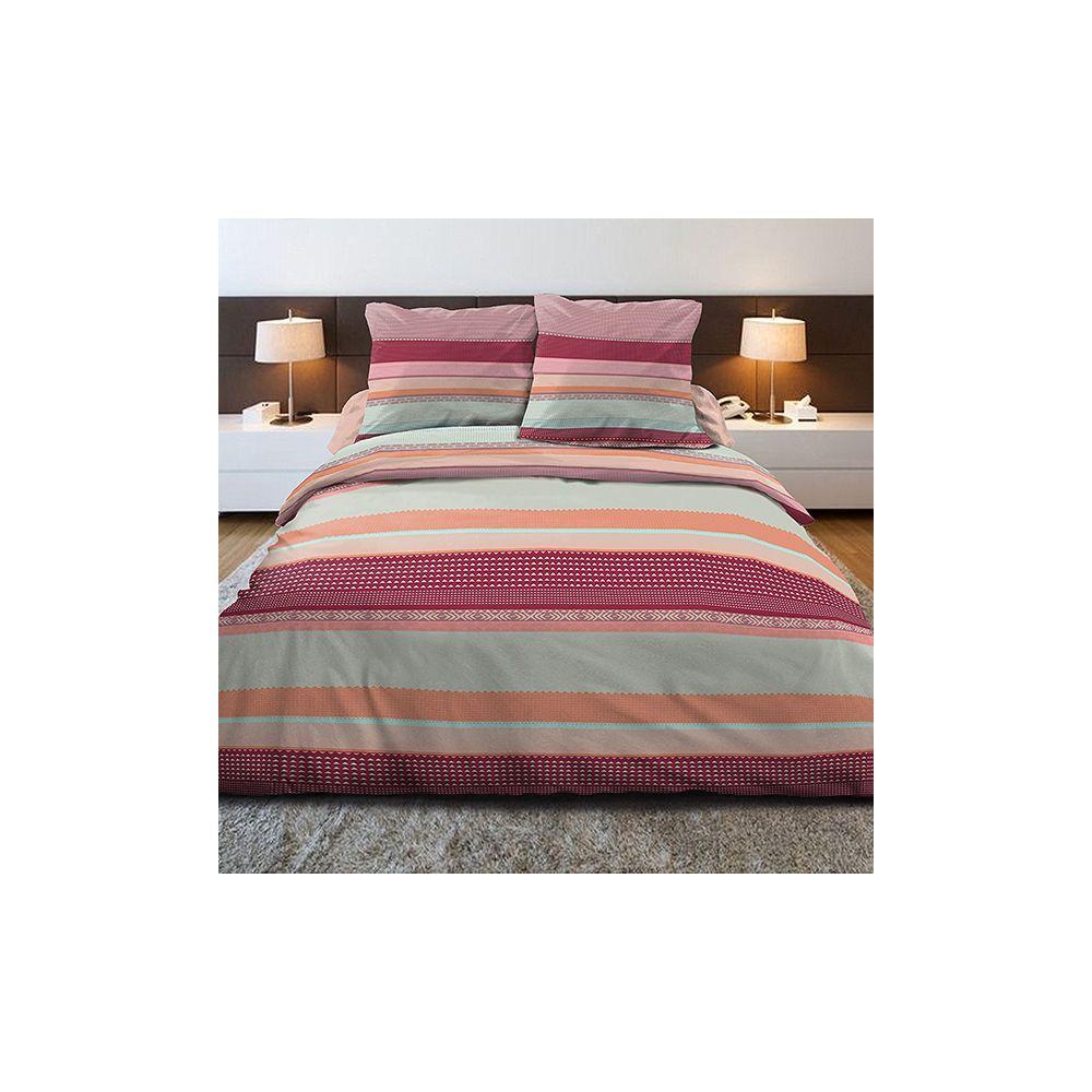 achat parure de couette 100 coton 240x260 cm lino multi pas cher. Black Bedroom Furniture Sets. Home Design Ideas