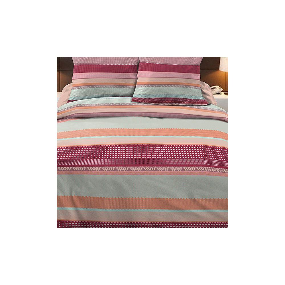 achat parure de couette 100 coton 240x260 cm lino multi. Black Bedroom Furniture Sets. Home Design Ideas