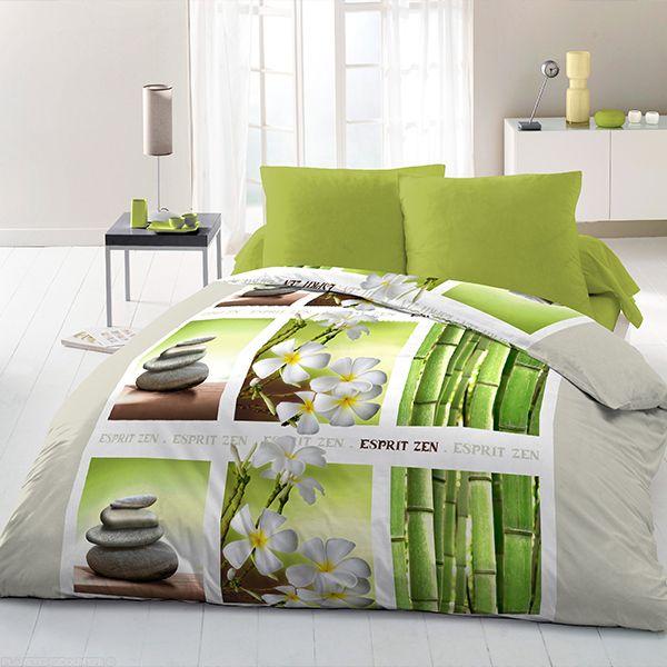 achat parure de couette microfibre 3 pcs 220x240 floral zen pas cher. Black Bedroom Furniture Sets. Home Design Ideas
