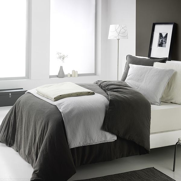 achat housse de couette 240x220 cm lin m tis gris fonc pas cher. Black Bedroom Furniture Sets. Home Design Ideas