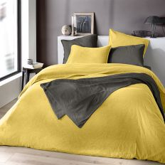 Housse de couette 240x220 cm Lin métis - Jaune moutarde