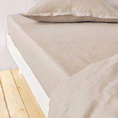 Drap housse 140x190 cm Lin métis - Beige