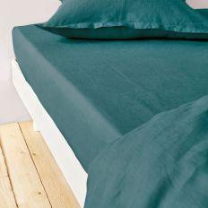 Drap housse 140x190 cm Lin métis - Bleu pétrole