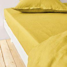 Drap housse 140x190 cm Lin métis - Jaune moutarde