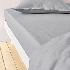 Drap housse 160x200 cm Lin métis - Gris clair