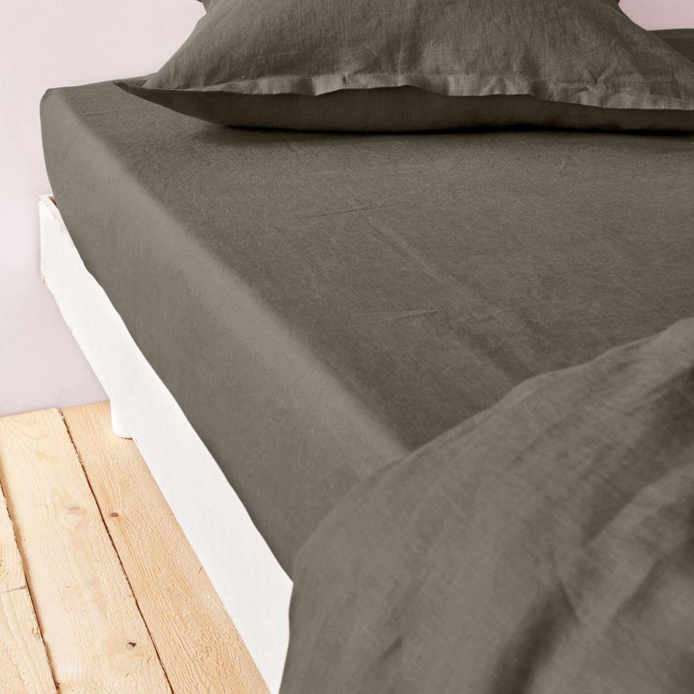 achat drap housse 160x200 cm lin m tis gris fonc pas cher. Black Bedroom Furniture Sets. Home Design Ideas