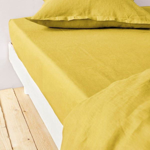 achat drap housse 160x200 cm lin m tis jaune moutarde pas cher. Black Bedroom Furniture Sets. Home Design Ideas