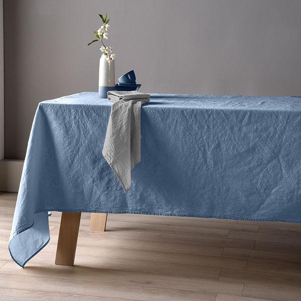 Nappe 160x250 Lin métis - Bleu pétrole