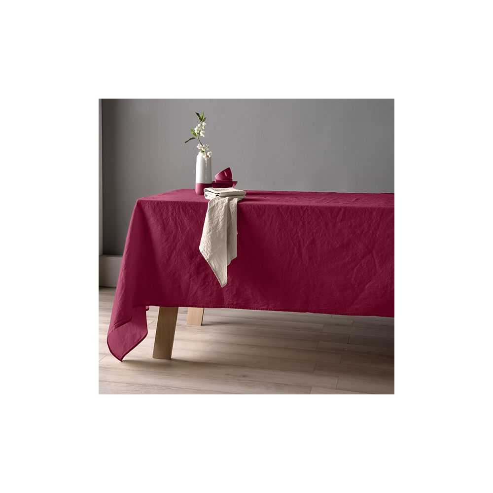 Nappe 160x250 Lin métis - Groseille. La nappe 60% Lin 40% Coton apporte le coté chic et coloré à votre table, Nappe Baton Rouge...