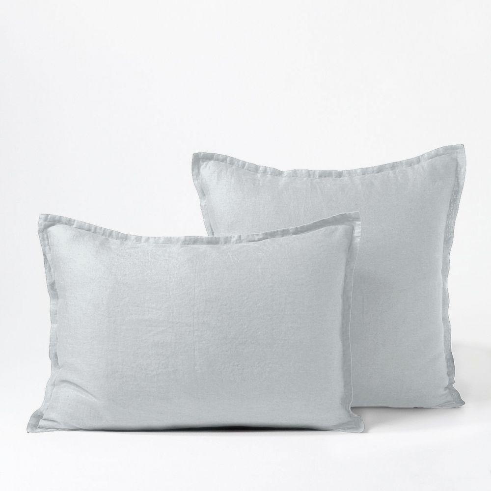 achat taie d 39 oreiller 50x70 avec volant lin blanc pas cher. Black Bedroom Furniture Sets. Home Design Ideas