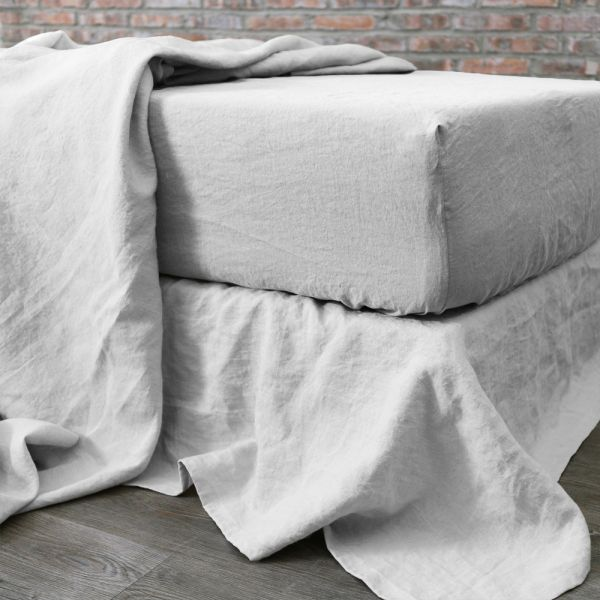 achat drap housse 140x190 cm lin blanc pas cher. Black Bedroom Furniture Sets. Home Design Ideas