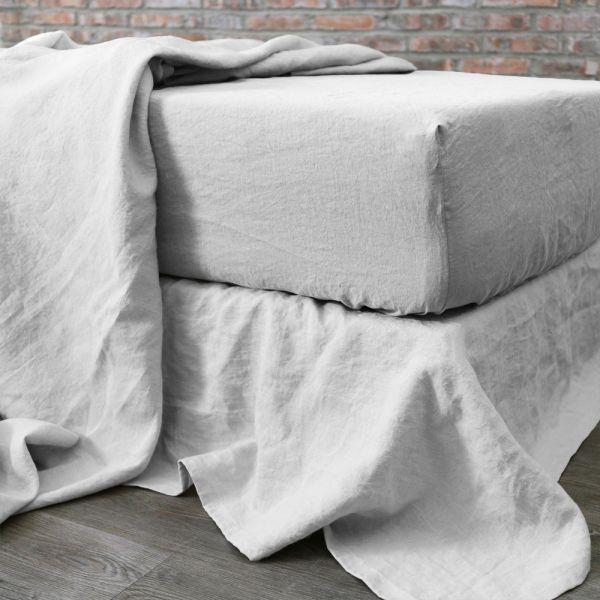 Drap housse 160x200 cm Lin Blanc