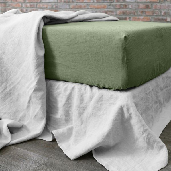 Drap housse 160x200 cm Lin Oil Green